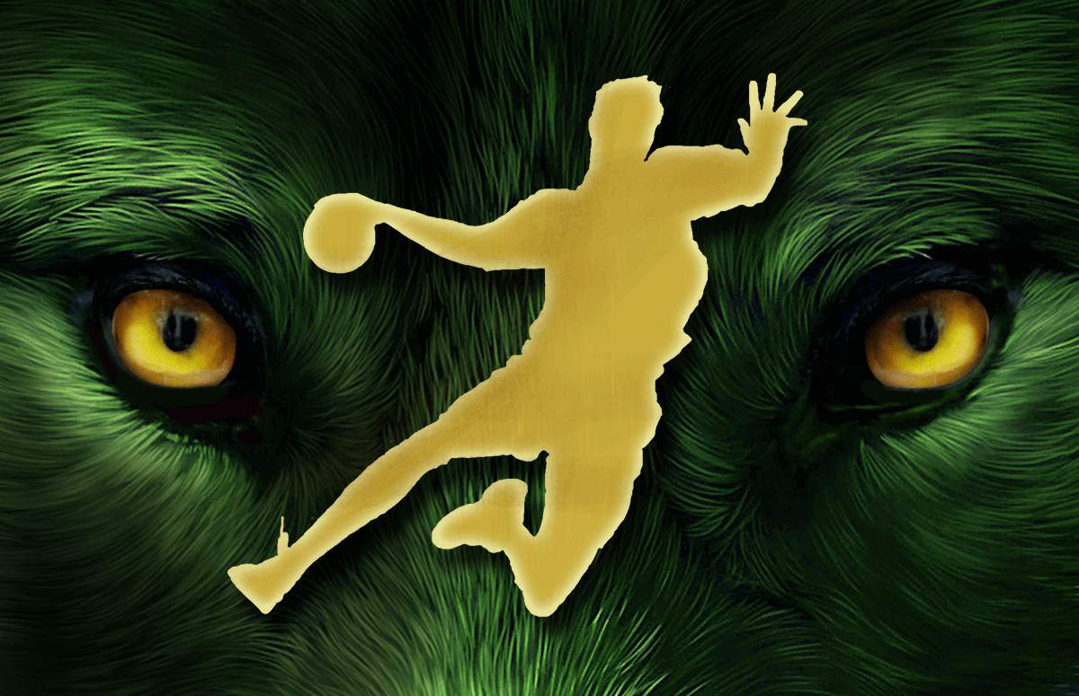 handball player throwing a ball, face of an wolf in the background