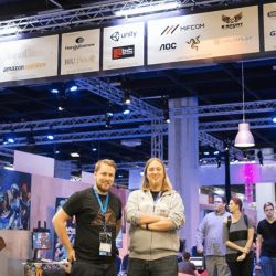 Christopher Kassulke at the Gamescom trade fair infront of the Indie Arena Booth