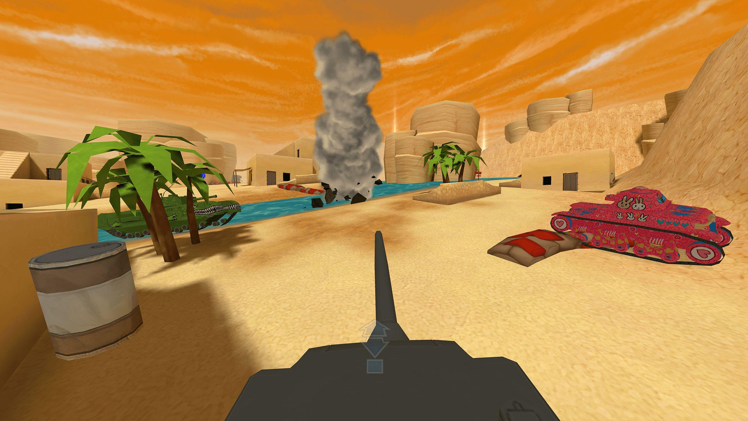 3D VR Panzer Tank brown pink explosion