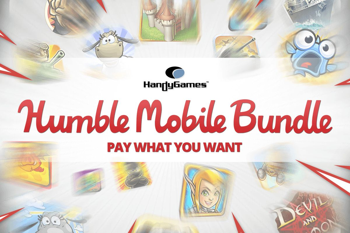 Colorful mobile game icons of the HandyGames Humble Bundle Mega Deal!